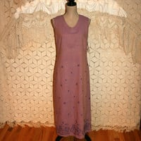 Sleeveless Maxi Dress Purple Linen Shift Hippie India Boho Summer Dress Embroidered Floral Petite Size 6 Size 8 Small Medium Womens Clothing
