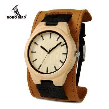 BOBO BIRD Round Vintage Men's Watches Bamboo Maple Top Luxury Brand Genuine Leather  Wristwatches Dress Watches For Men