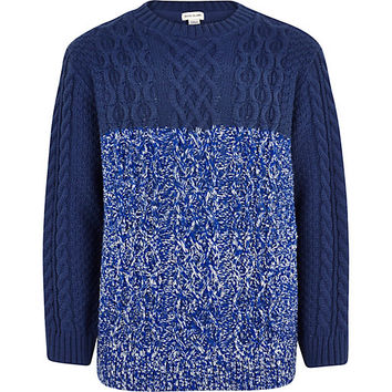 River Island Boys blue twist block cable knit sweater