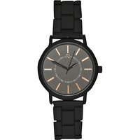 River Island MensBlack simple rose gold tone watch