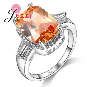 JEXXI Rectangle Orange Zirconia Crystal Stone 925 Stamp Sterling Silver Rings Fashion Finger Jewelry For Woman US Size 6-9