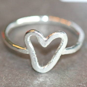 Heart Pinky Ring,  Fine Silver Open Heart Ring, Size 5 Heart Ring, Heart Stacking Ring, Fine Silver Stacking Ring by Maggie McMane Designs