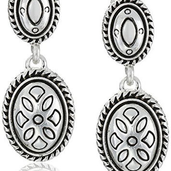 "Napier ""Classics"" Silver Tone Double Drop Clip-On Earrings"