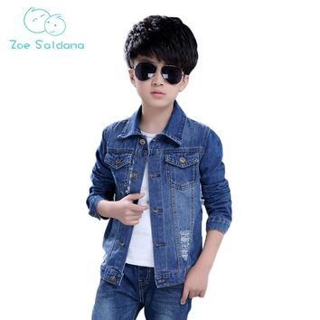 Zoe Saldana Boy Jacket 2017 New Arrival Autumn Big Boys Denim Jackets Long Sleeved Kids Clothing Causal Jeans Boys Outerwears