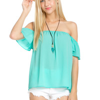 Short Sleeve Off the Shoulder Flowy Mint Top