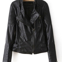 Black Side Zip Notched Collar Leather Jacket
