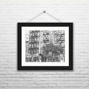 Fire Escapes  of New York City-- Instant Download New York City, Black and White Sketches, Wall Art, Modern Art,