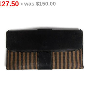 Vintage Fendi Bi Fold Wallet Bill Fold Leather Trim Coated Canvas Dark Brown Tan