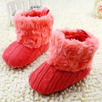 MDIGMS9 Baby Shoes Crochet Knit Fleece Boots