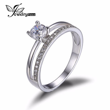 JewelryPalace 0.6ct Cubic Zirconia Anniversary Wedding Band Engagement Ring Set Guard Enhancer 925 Sterling Silver Jewelry