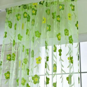Fashion Floral Tulle Voile Rome Window Curtains Drape Panel Sheer Scarf Valances