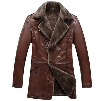 Men's Winter Brown Sheepskin Fur Lined Shearling Coat