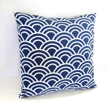 Blue Pillow Cover, Cushion Cover, Decorative Toss Pillow, Modern Navy Print