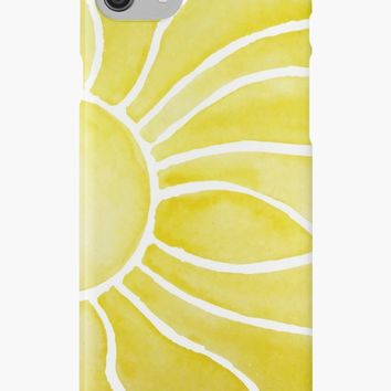 'Sun Flower | Flamy Rays of the Rising Sun' iPhone Case/Skin by Foxeye Daisy