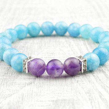 Aquamarine Bracelet Amethyst Jewelry Girlfriend Gift Fairy Kei Mint Throat 5th Chakra Bracelet Natural Aquamarine Gemstone Bracelet Yoga