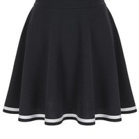 Super Cute Stripe Trim A-line Flared Skater Mini Skirt
