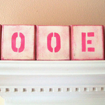 Block Letters Name Wood Letter Blocks Baby Nursery Decor Custom Wooden Alphabet