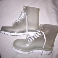 Ankle ROCK & CANDY Rain Boots Womens Clear and White ...