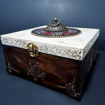 Big Hand Decorated  Box, Antique Jewelry Box, Distressed Brown Box, Trinket Box, brown cigar box, hand painted box