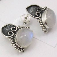 Silver RAINBOW MOONSTONE  1.8CM Pair of  Earring