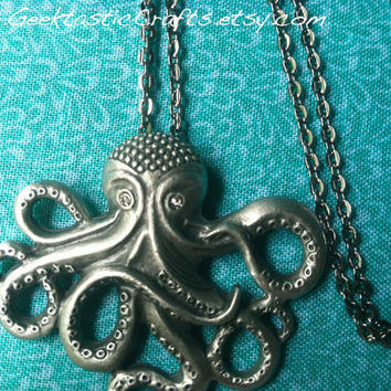 Octopus Silver Necklace Unique Pendant