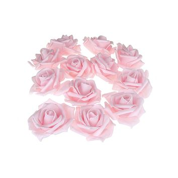 Foam Roses Flower Head Embellishment, 3-Inch, 12-Count, Pink
