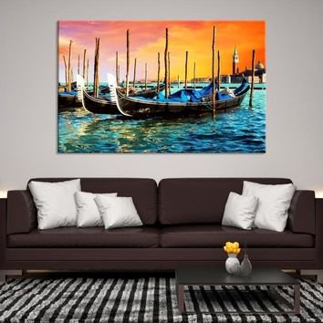 84734 - Lovely Boats in the Sea Wall Art Canvas Print