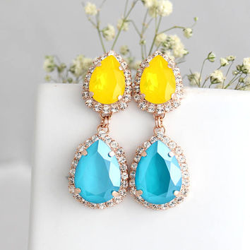 Yellow Turquoise Earrings, Bridal Turquoise Yellow Earrings, Yellow Turquoise Chandelier Earrings, Bridal Yellow Blue Drop Earrings