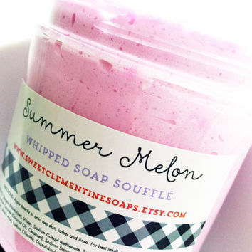 Summer Melon Whipped Soap Souffle - Watermelon Shaving Soap - Melon Bath Whip - Shaving Cream