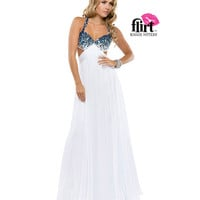 Flirt by Maggie Sottero 2014 Prom Dresses - White & Electric Blue Chiffon Dress with Open Back