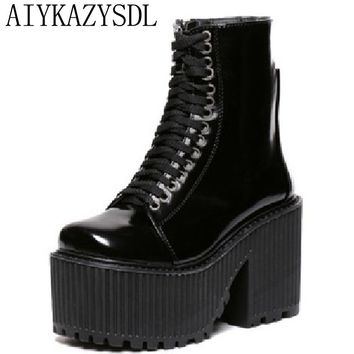 AIYKAZYSDL 2017 Women Ankle Boot Punk Hip Hop Gothic Motorcycle Boots Faux Leather Platform block high heel creeper shoes Bootie