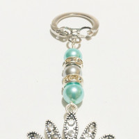 Crown Keychain Turquoise and Gray / Five Point Crown Rhinestone Keychain / Rhinestone Crown Keyring / Sorority colors / Turquoise and Silver