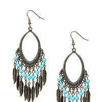 Millie Feather And Bead Earrings