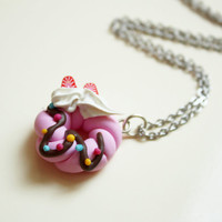 Donut Necklace - polymer clay miniature food