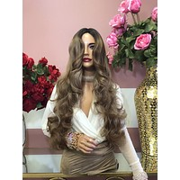 """Dark Blonde Ombre Curly Full Wig 22"""" 0219 25"""