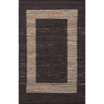 Jaipur Rugs Accent Naturals Pattern Black/Taupe Jute and Cotton Area Rug PRP04 (Rectangle)