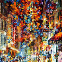 "The Night In Paris — ORIGINAL Landscape City Street Oil Painting On Canvas By Leonid Afremov - Size: 32"" x 51"""