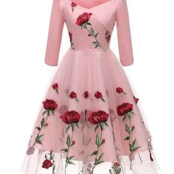 New Pink Floral Off Shoulder Embroidery Grenadine Pleated Tutu Mexican Elegant Homecoming Party Midi Dress