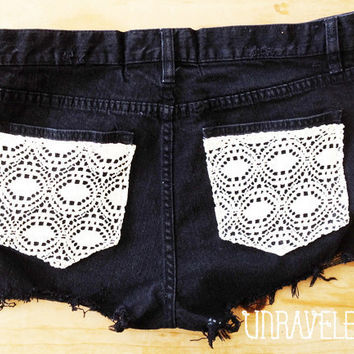 High Waisted Jeans Shorts, Lace Pockets (Size MEDIUM-LARGE) 1041