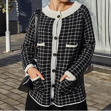 Women Plaid Cardigans Fashion Pockets Long Sleeve Vest Female Sweater Outerwear Ladies Knitted Jackets and Coats