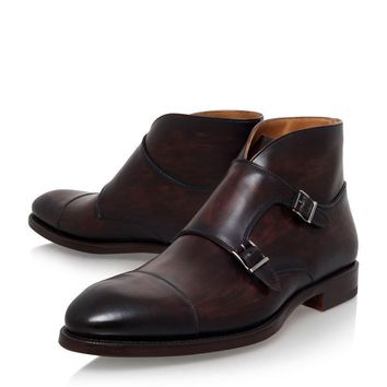 Men Brown Double Monk Strap Genuine Leather Boots