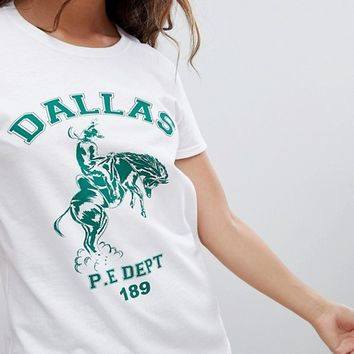 Daisy Street relaxed t-shirt with vintage dallas graphic at asos.com