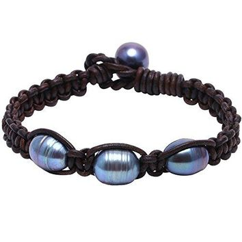 Genuine Leather Bangle Braided Bracelet Handmade Woven Wristbands with 3 Pearl Beads Anklet for Women Unisex Girls