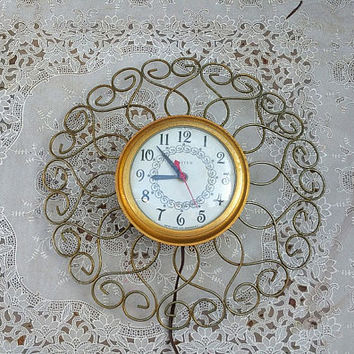 Vintage United Gold Metal Wall Clock Sunburst Design