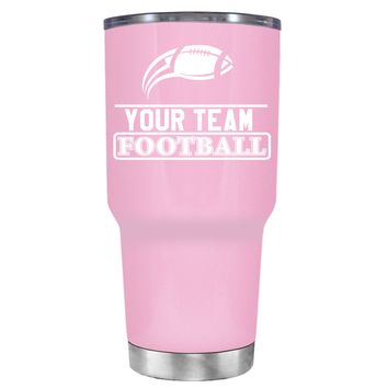 TREK Personalized Football Team on Pretty Pink 30 oz Tumbler Cup