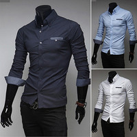 Mens Fashion Slim Fit Dot Design Dress Shirt