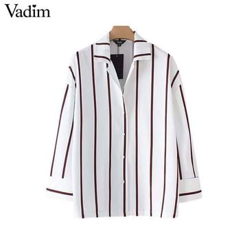 Vadim women elegant striped oversized shirt turn down collar pleated loose blouse ladies fashion office wear tops Blusa LT2635