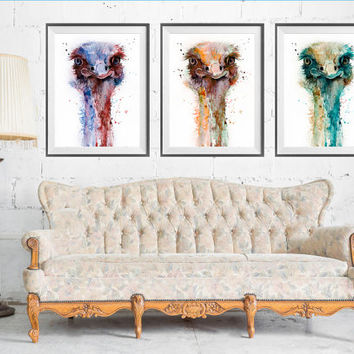 Ostrich SET watercolor painting print, Ostrich art, set art print, animal illustration, art print, bird art, bird watercolor, animal art
