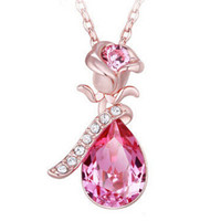 Angel Tears Imitation Crystal Necklace with Rose Flower. FREE Shipping.