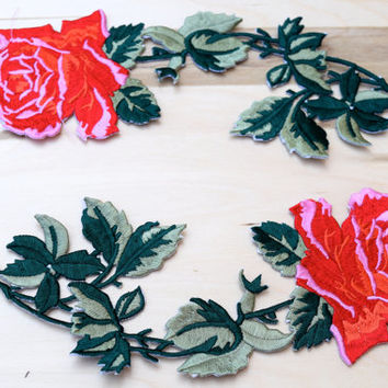 2 Red Rose Embroidery Patches Classically Timeless Embroidery Flower Applique, Rose Patch with Iron on Backing